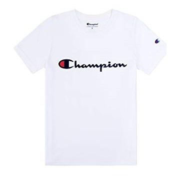 Champion Boys Heritage Short Sleeve Cotton Logo Tee Kids (Heritage White, Medium), List Price is