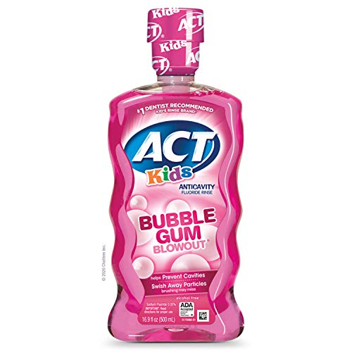 ACT Kids AntiCavity Fluoride Rinse Children's Mouthwash, Bubblegum Blowout, Bubble Gum Blow Out, 16.9 Fl Oz, Now
