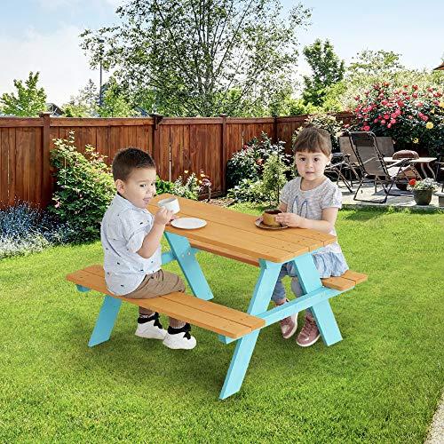 Teamson Kids Wooden Kids Picnic Table & Chair Bench Set