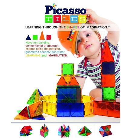 Picasso Tiles透明3D磁性建筑玩具100片装