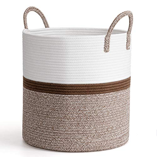 """CHICVITA Extra Large Cotton Rope Basket Woven Storage Basket with Handles – Natural Laundry Basket Toy Towels Blanket Basket Home Decor Gift, 16"""" x 16"""", Brown"""