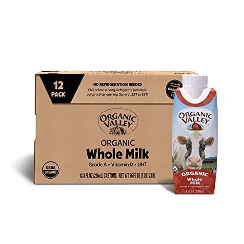 Organic Valley Whole Shelf Stable Milk, Resealable Cap, 8 Oz, Pack of 12