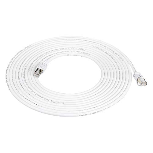 Amazon Basics RJ45 Cat 7 High-Speed Gigabit Ethernet Patch Internet Cable, 10Gbps, 600MHz - White, 20-Foot, 5-Pack