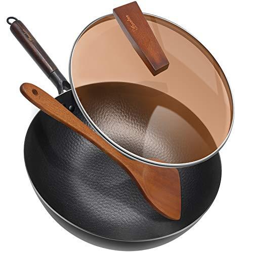 Carbon Steel Wok Pan with Lid & Wood Spatula