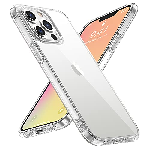 WRJ Designed for iPhone 13 Pro Max Case 2021,Non-Yellowing 9H Tempered Glass Back Anti-Scratch Shockproof [Military Grade Protection] Crystal Clear Phone Case 6.7 Inch- Slim Thin