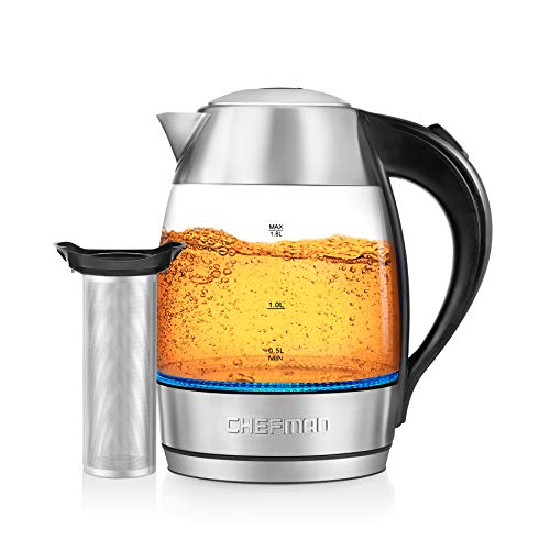 Chefman, Fast W/LED Lights Auto Shutoff & Boil Dry Protection, Cordless Pouring, BPA Free, Removable Tea Infuser, 1.9 Quart, 3 Min Boil Electric Glass Kettle, List Price is
