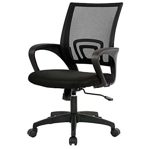BestOffice Ergonomic Desk Mid-Back Mesh Computer Lumbar Support Comfortable Executive Adjustable Rolling Swivel Task Chair with Armrests(Black), Now