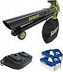 Sun Joe Cordless Blower Vacuum Mulcher Kit w/ 2 x 4.0 Ah Batteries
